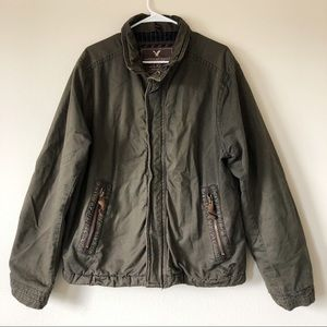 American Eagle Army Green Heavy Zip Up Jacket